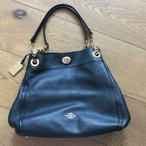 Coach black leather handbag with gold hardware